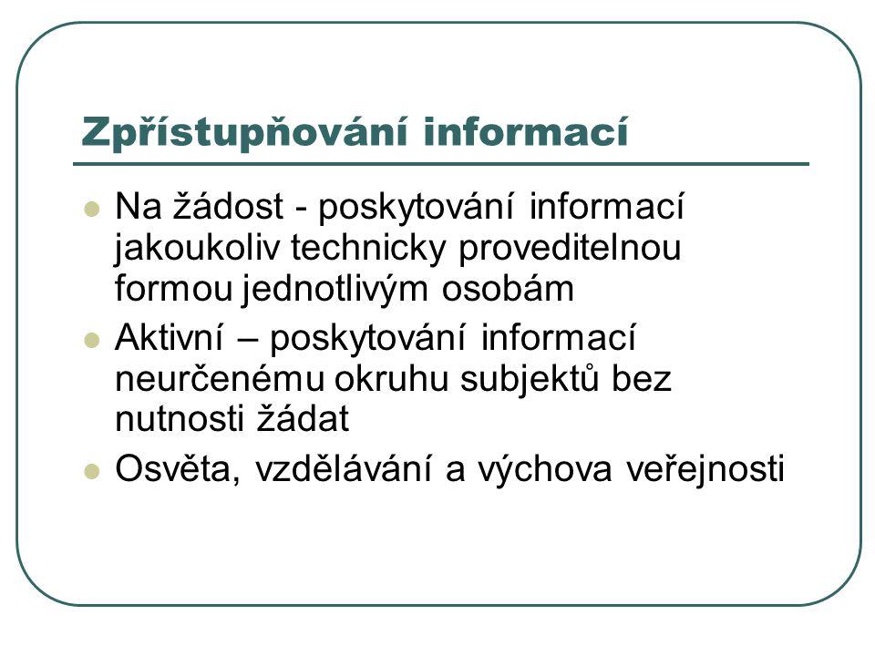 Zpřístupňování informací Na žádost - poskytování informací jakoukoliv technicky proveditelnou formou jednotlivým osobám Aktivní – poskytování informací neurčenému okruhu subjektů bez nutnosti žádat Osvěta, vzdělávání a výchova veřejnosti
