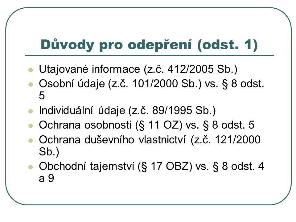 Důvody pro odepření (odst. 1) Utajované informace (z.č.