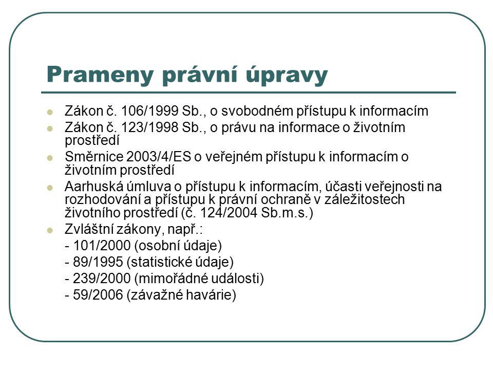 Prameny právní úpravy Zákon č. 106/1999 Sb., o svobodném přístupu k informacím Zákon č.