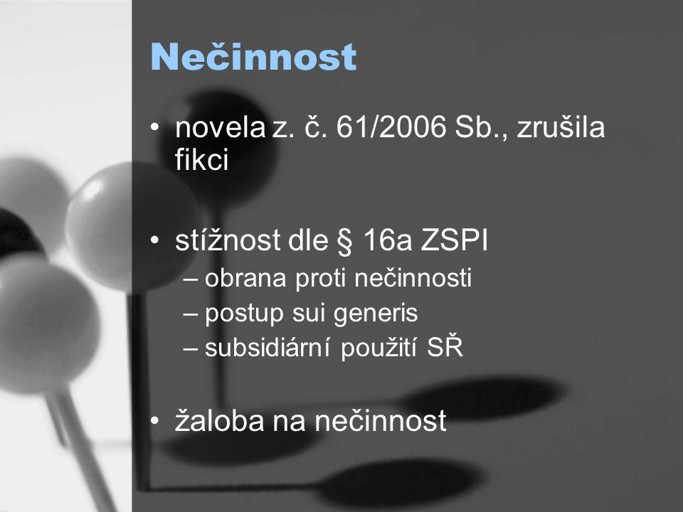 Nečinnost novela z. č.