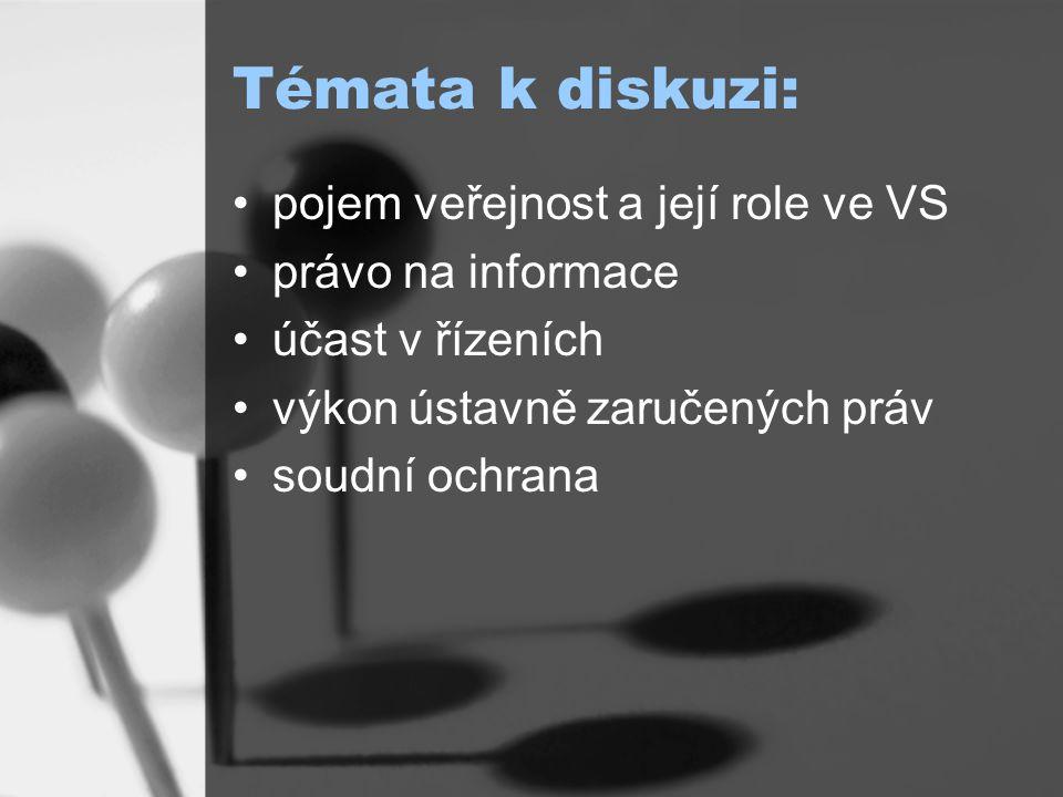 Témata k diskuzi: pojem veřejnost a její role ve VS právo na informace účast v řízeních výkon ústavně zaručených práv soudní ochrana