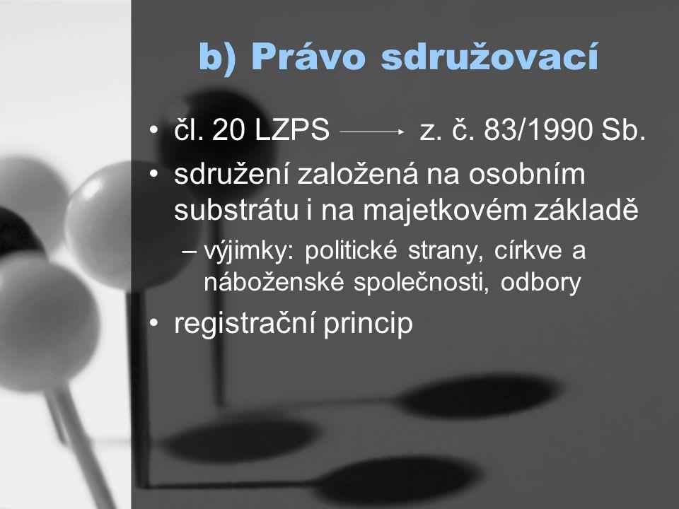 b) Právo sdružovací čl. 20 LZPS z. č. 83/1990 Sb.