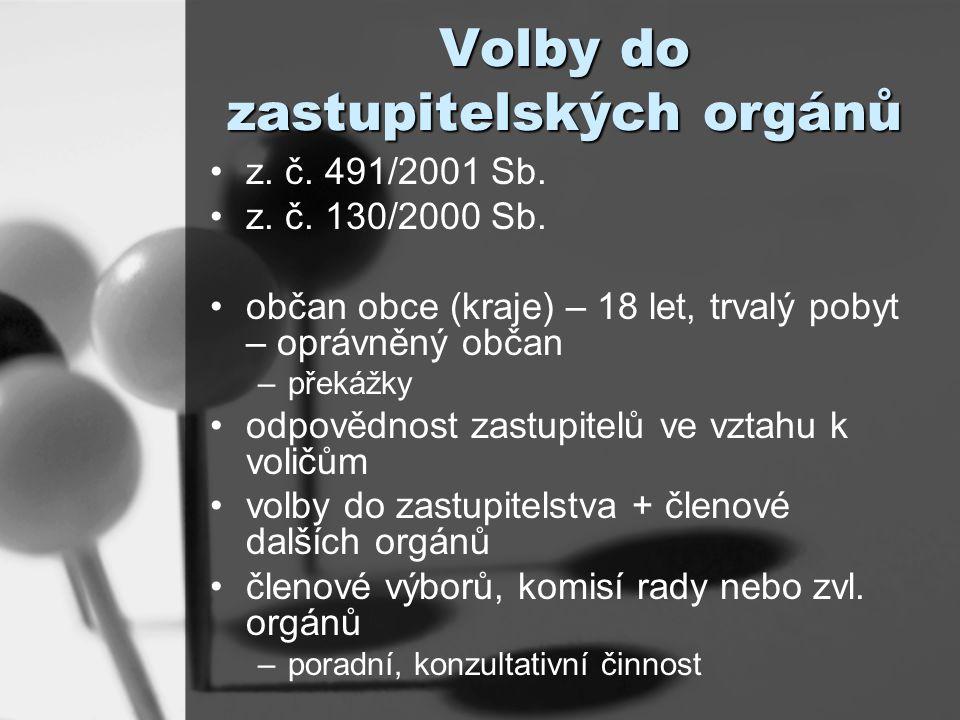 Volby do zastupitelských orgánů z. č. 491/2001 Sb.