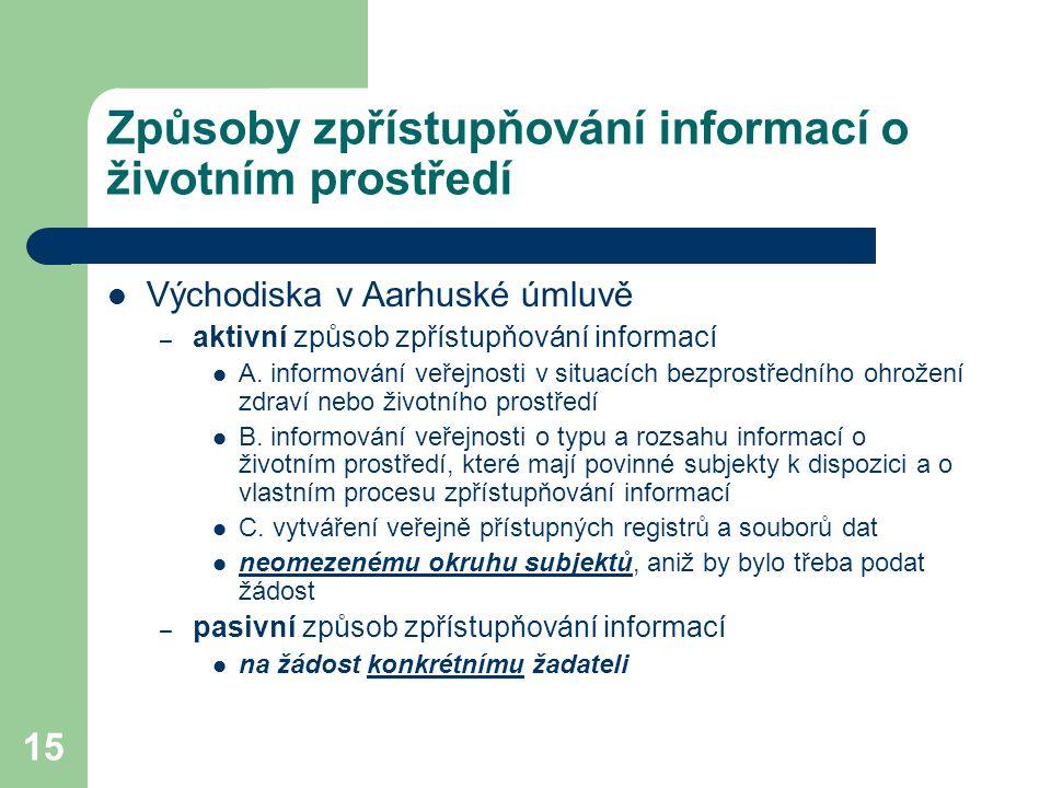 15 Způsoby zpřístupňování informací o životním prostředí Východiska v Aarhuské úmluvě – aktivní způsob zpřístupňování informací A. informování veřejno