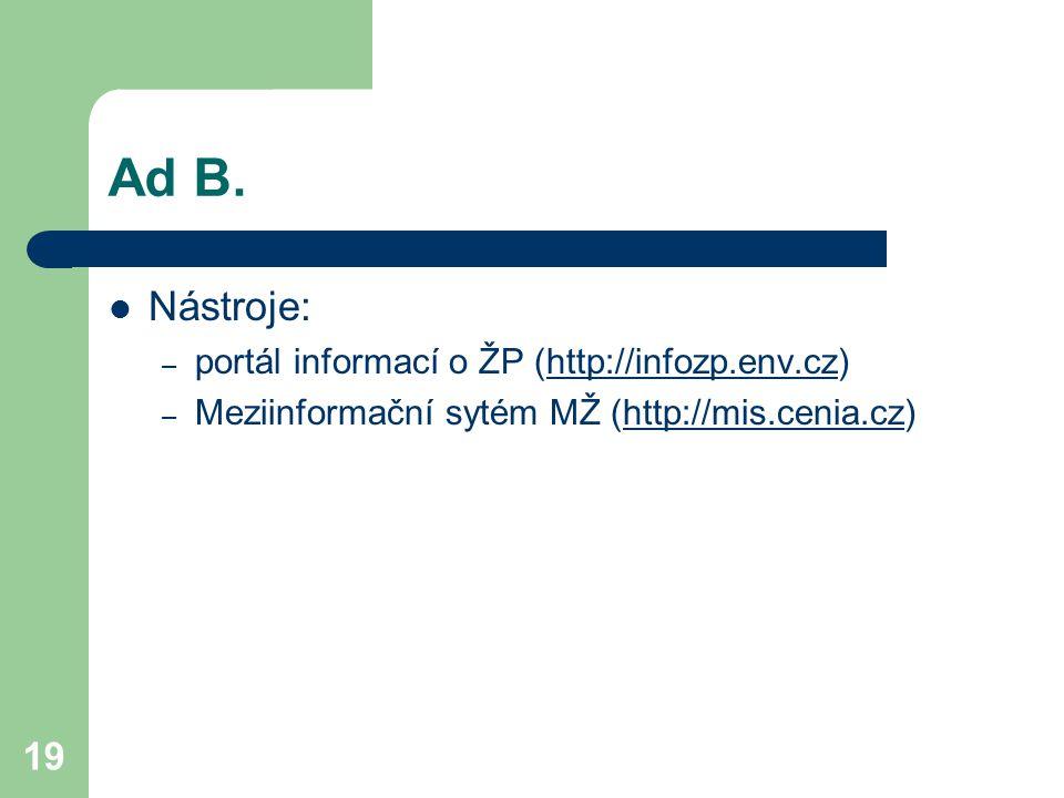 19 Ad B. Nástroje: – portál informací o ŽP (http://infozp.env.cz)http://infozp.env.cz – Meziinformační sytém MŽ (http://mis.cenia.cz)http://mis.cenia.