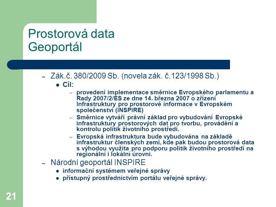 21 Prostorová data Geoportál – Zák.č. 380/2009 Sb. (novela zák. č.123/1998 Sb.) Cíl: – provedení implementace směrnice Evropského parlamentu a Rady 20
