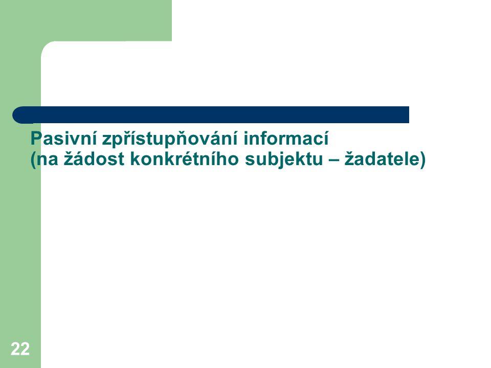 22 Pasivní zpřístupňování informací (na žádost konkrétního subjektu – žadatele)