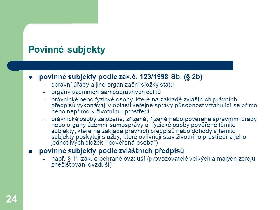 24 Povinné subjekty povinné subjekty podle zák.č. 123/1998 Sb. (§ 2b) – správní úřady a jiné organizační složky státu – orgány územních samosprávných