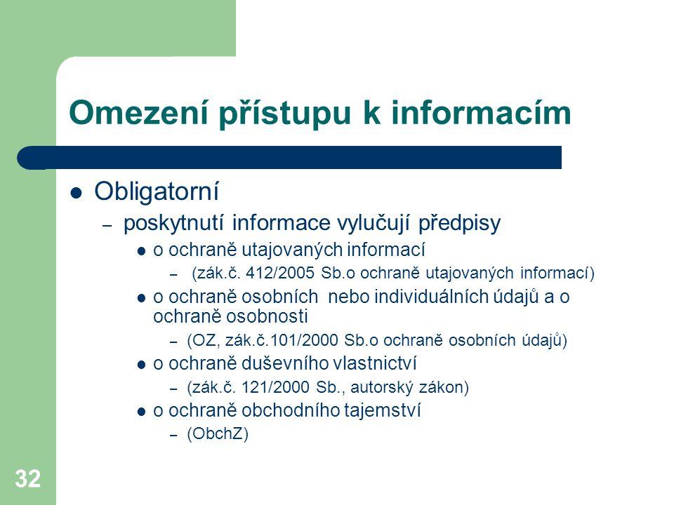 32 Omezení přístupu k informacím Obligatorní – poskytnutí informace vylučují předpisy o ochraně utajovaných informací – (zák.č. 412/2005 Sb.o ochraně