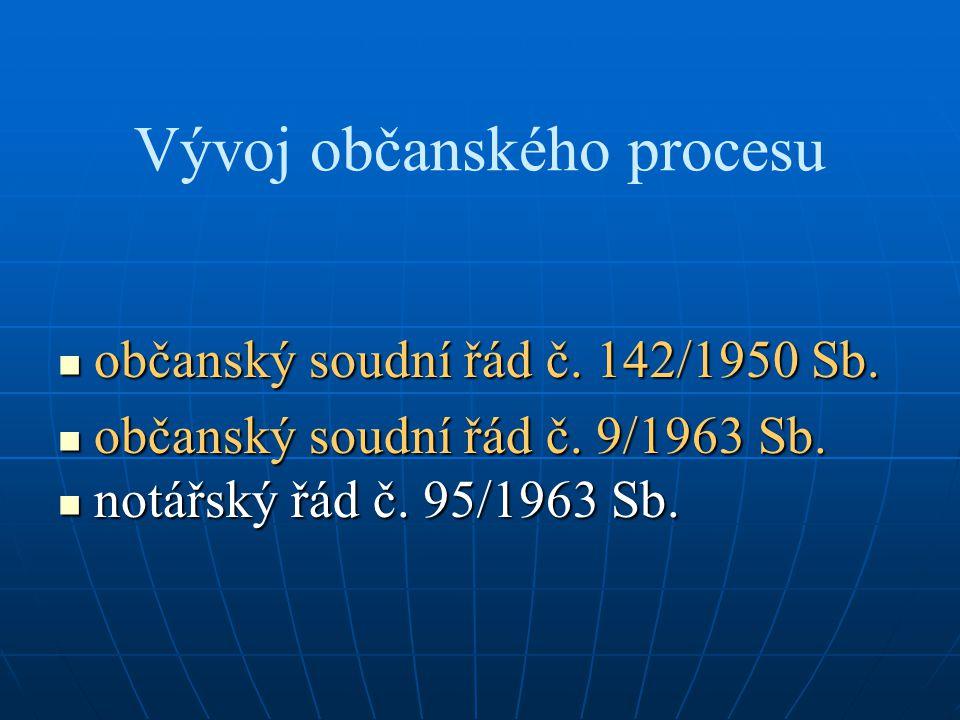 Vývoj občanského procesu občanský soudní řád č. 142/1950 Sb. občanský soudní řád č. 142/1950 Sb. občanský soudní řád č. 9/1963 Sb. občanský soudní řád