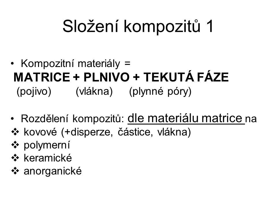 Složení kompozitů 1 Kompozitní materiály = MATRICE + PLNIVO + TEKUTÁ FÁZE (pojivo) (vlákna) (plynné póry) Rozdělení kompozitů: dle materiálu matrice n