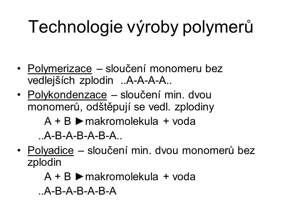 Rozdělení polymerů Dle původu: a) polosyntetické (z celulozy) b) syntetické (z monomerů) Dle základní makromolekulární hmoty: a) termoplasty, b) termosety (duroplasty, reaktoplasty), c) elastomery (pryže), d) ostatní Dle dalšího použití: a) recyklovatelné b) nerecyklovatelné