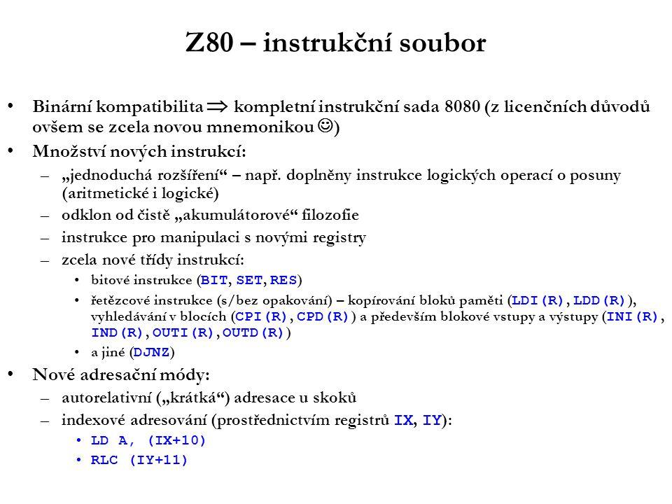Z80 – instrukční soubor Binární kompatibilita  kompletní instrukční sada 8080 (z licenčních důvodů ovšem se zcela novou mnemonikou ) Množství nových