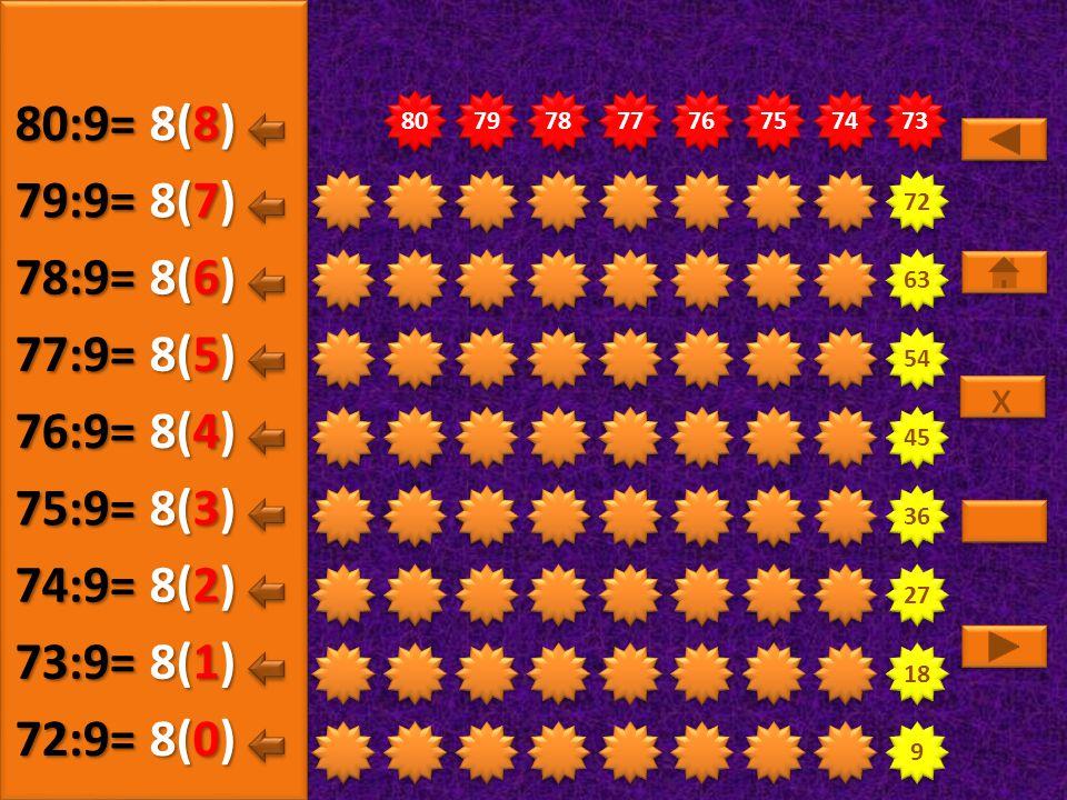 9 9 18 27 36 45 54 63 72 73 74 75 76 77 78 79 80 8(5) 72:9= 8(0) 73:9= 8(1) 74:9= 8(2) 75:9= 8(3) 76:9= 8(4) 77:9= x x 8(6) 78:9= 8(7) 79:9= 8(8) 80:9=