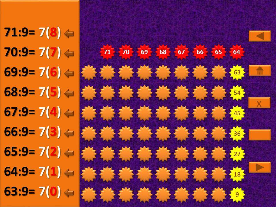 9 9 18 27 36 45 54 63 72 73 74 75 76 77 78 79 80 8(5) 72:9= 8(0) 73:9= 8(1) 74:9= 8(2) 75:9= 8(3) 76:9= 8(4) 77:9= x x 8(6) 78:9= 8(7) 79:9= 8(8) 80:9