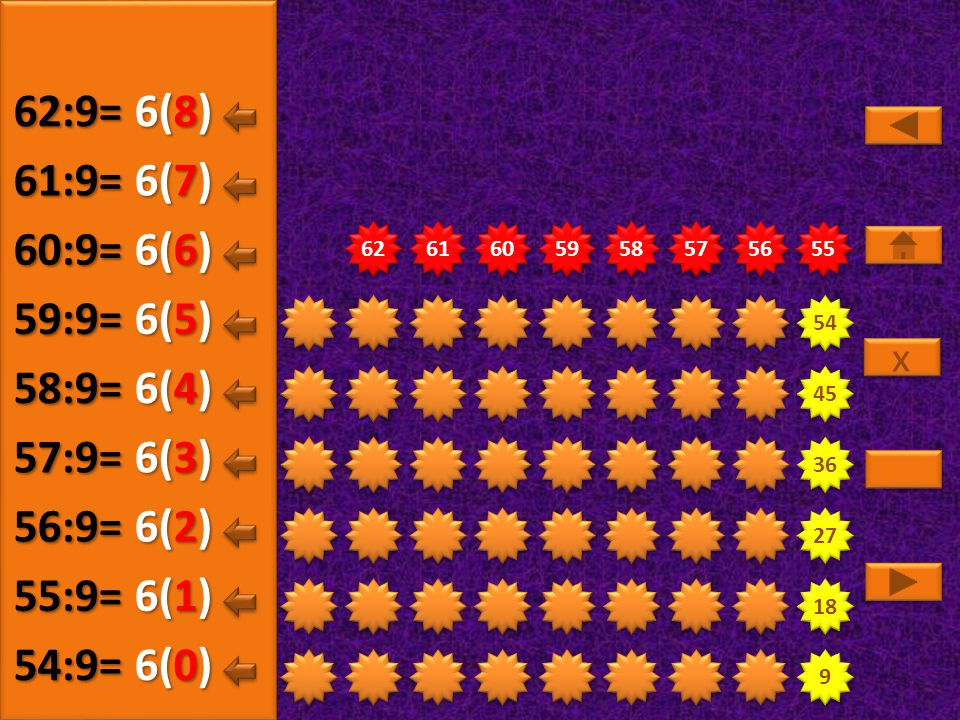 9 9 18 27 36 45 54 63 64 65 66 67 68 69 70 71 7(5) 63:9= 7(0) 64:9= 7(1) 65:9= 7(2) 66:9= 7(3) 67:9= 7(4) 68:9= x x 7(6) 69:9= 7(7) 70:9= 7(8) 71:9=