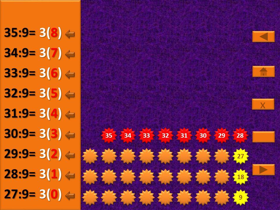 9 9 18 27 28 29 30 31 32 33 34 35 3(5) 27:9= 3(0) 28:9= 3(1) 29:9= 3(2) 30:9= 3(3) 31:9= 3(4) 32:9= x x 3(6) 33:9= 3(7) 34:9= 3(8) 35:9=