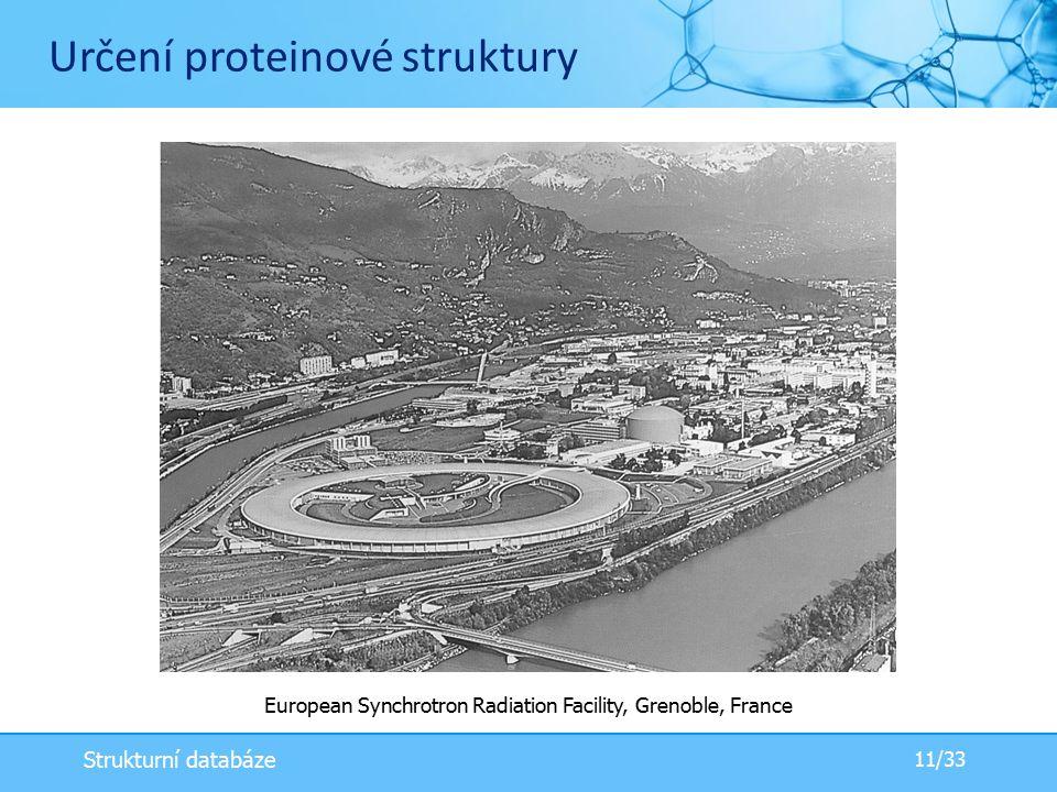Určení proteinové struktury European Synchrotron Radiation Facility, Grenoble, France 11/33 Strukturní databáze