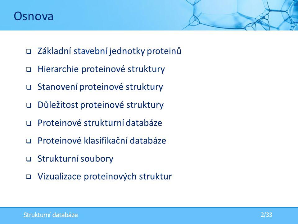  Základní stavební jednotky proteinů  Hierarchie proteinové struktury  Stanovení proteinové struktury  Důležitost proteinové struktury  Proteinové strukturní databáze  Proteinové klasifikační databáze  Strukturní soubory  Vizualizace proteinových struktur Osnova 2/33 Strukturní databáze