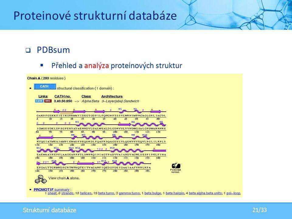  PDBsum  Přehled a analýza proteinových struktur Proteinové strukturní databáze 21/33 Strukturní databáze