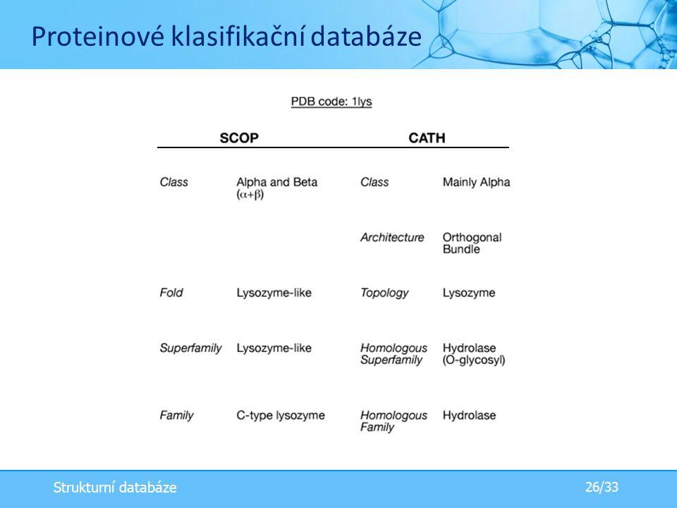  classification scheme may be different in different databases Proteinové klasifikační databáze 26/33 Strukturní databáze