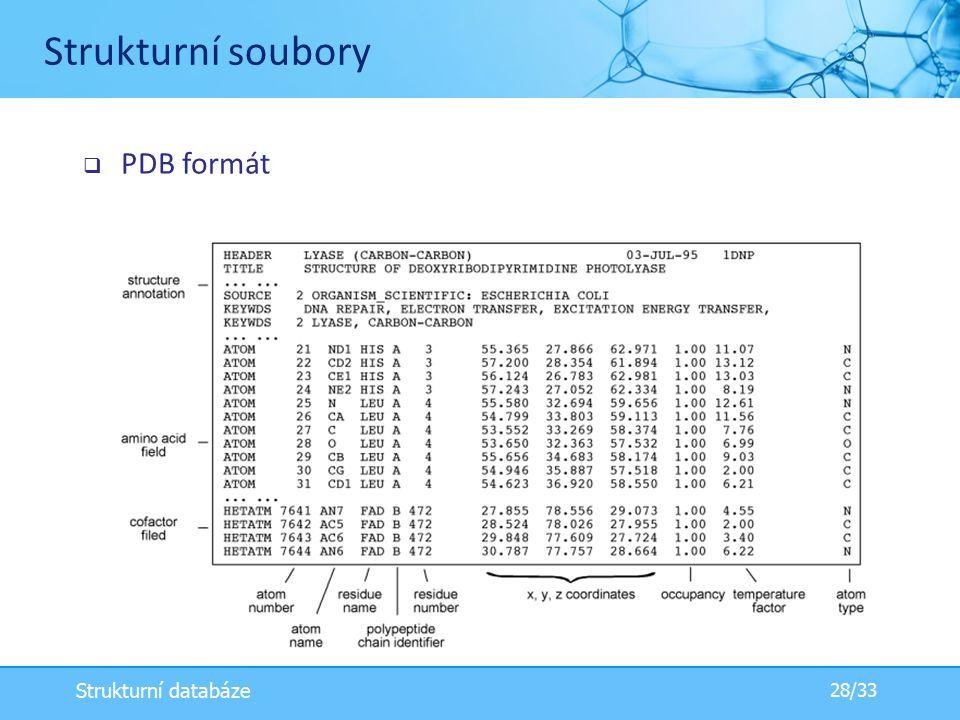  PDB formát Strukturní soubory 28/33 Strukturní databáze