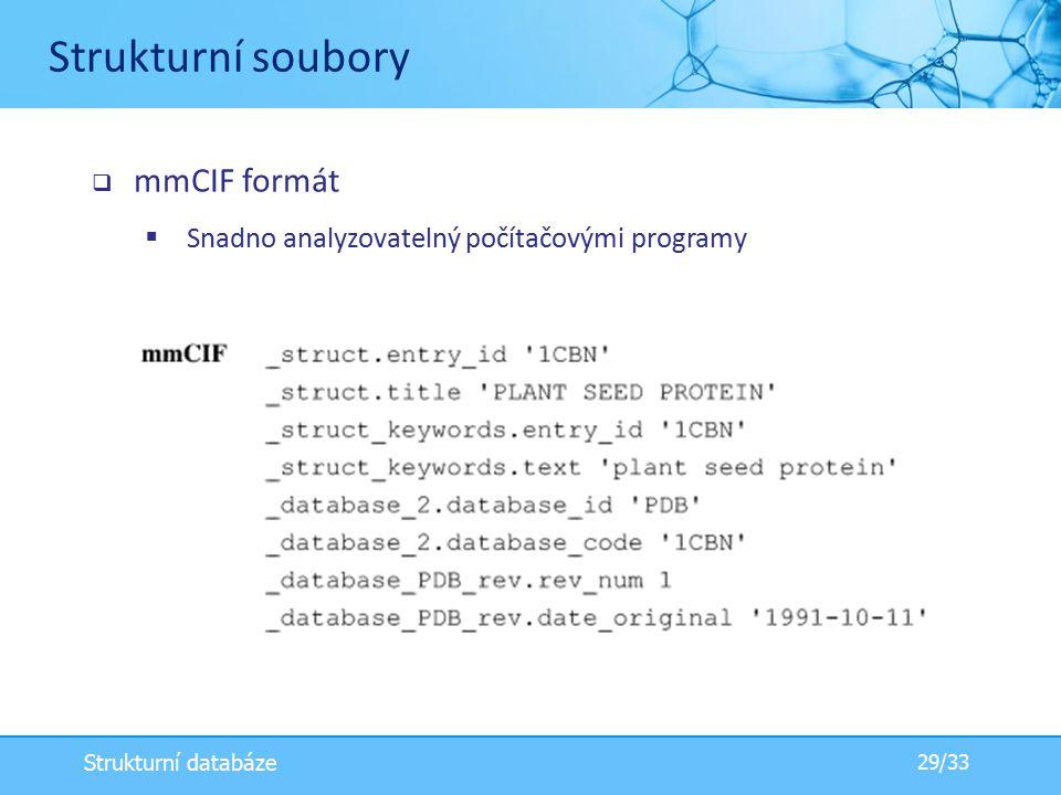  mmCIF formát  Snadno analyzovatelný počítačovými programy Strukturní soubory 29/33 Strukturní databáze
