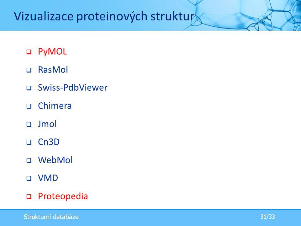  PyMOL  RasMol  Swiss-PdbViewer  Chimera  Jmol  Cn3D  WebMol  VMD  Proteopedia Vizualizace proteinových struktur 31/33 Strukturní databáze