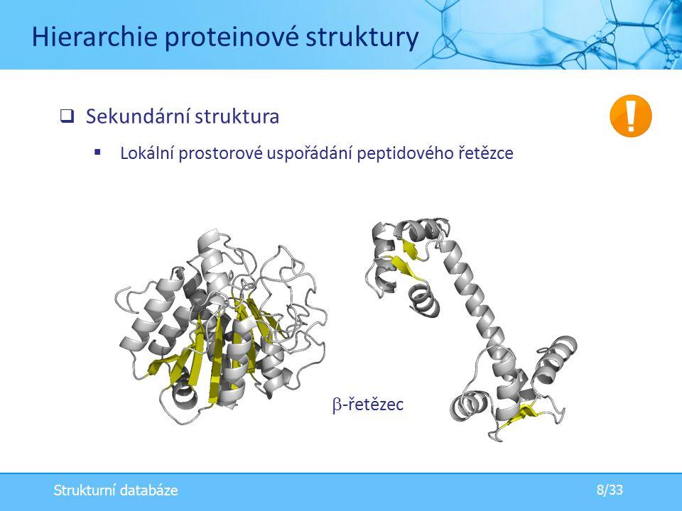  -řetězec  Sekundární struktura  Lokální prostorové uspořádání peptidového řetězce Hierarchie proteinové struktury 8/33 Strukturní databáze