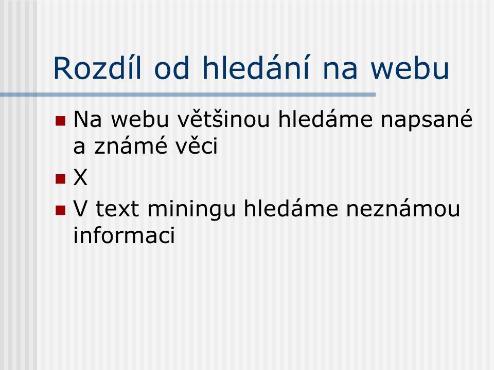 Rozdíl od hledání na webu Na webu většinou hledáme napsané a známé věci X V text miningu hledáme neznámou informaci