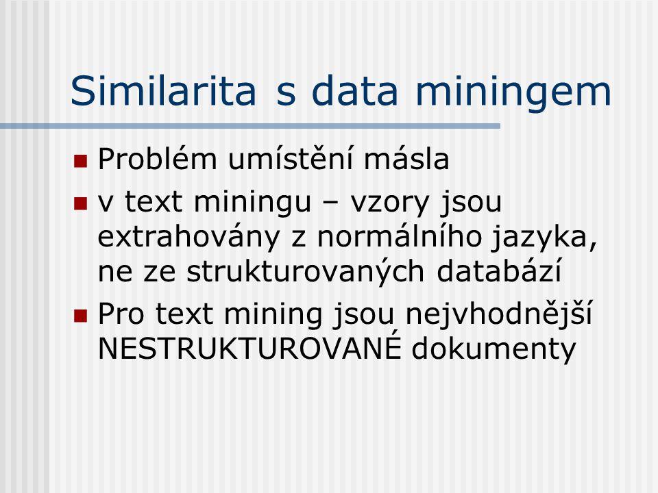 Similarita s data miningem Problém umístění másla v text miningu – vzory jsou extrahovány z normálního jazyka, ne ze strukturovaných databází Pro text