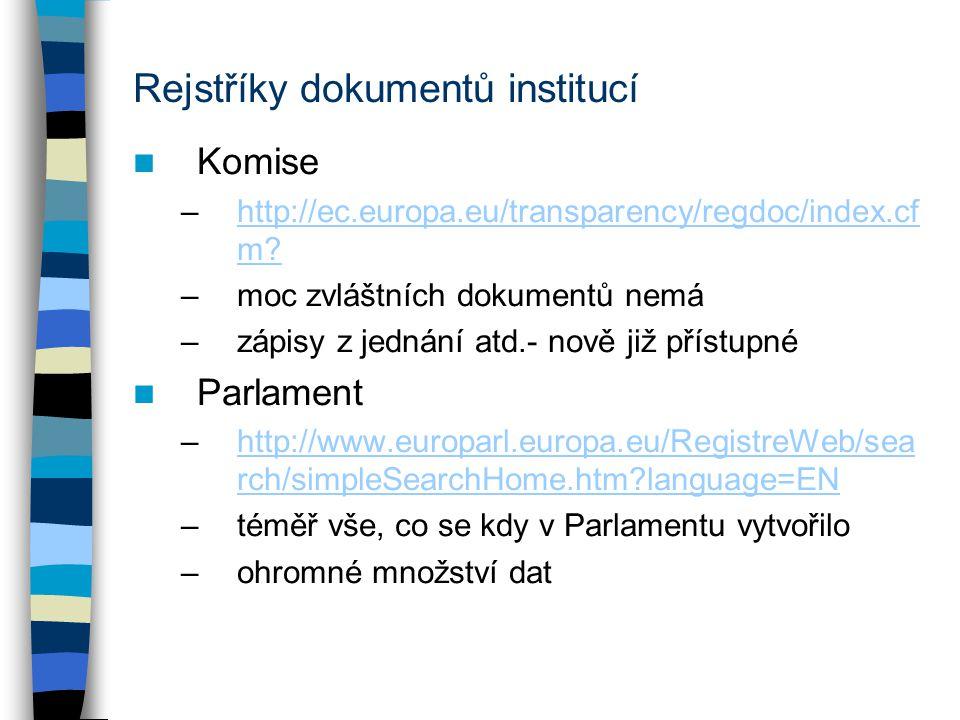 Rejstříky dokumentů institucí Komise –http://ec.europa.eu/transparency/regdoc/index.cf m?http://ec.europa.eu/transparency/regdoc/index.cf m? –moc zvlá