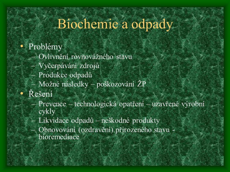 Biochemie a odpady Problémy –Ovlivnění rovnovážného stavu –Vyčerpávání zdrojů –Produkce odpadů –Možné následky – poškozování ŽP Řešení –Prevence – technologická opatření – uzavřené výrobní cykly –Likvidace odpadů – neškodné produkty –Obnovování (ozdravění) přirozeného stavu - bioremediace