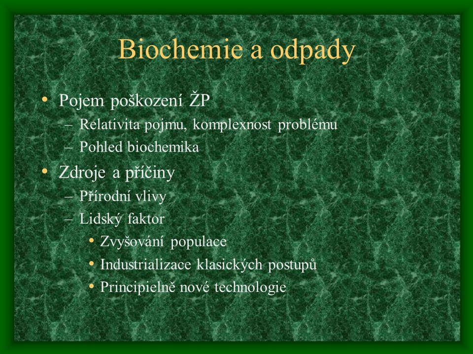 Biochemie a odpady Pojem poškození ŽP –Relativita pojmu, komplexnost problému –Pohled biochemika Zdroje a příčiny –Přírodní vlivy –Lidský faktor Zvyšo
