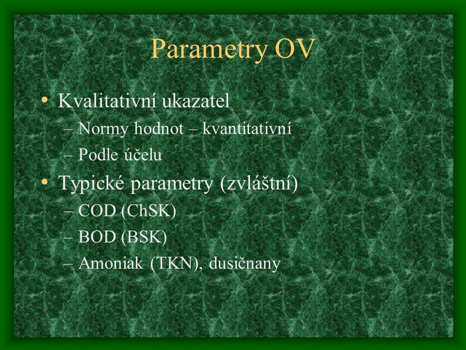 Parametry OV Kvalitativní ukazatel –Normy hodnot – kvantitativní –Podle účelu Typické parametry (zvláštní) –COD (ChSK) –BOD (BSK) –Amoniak (TKN), dusičnany