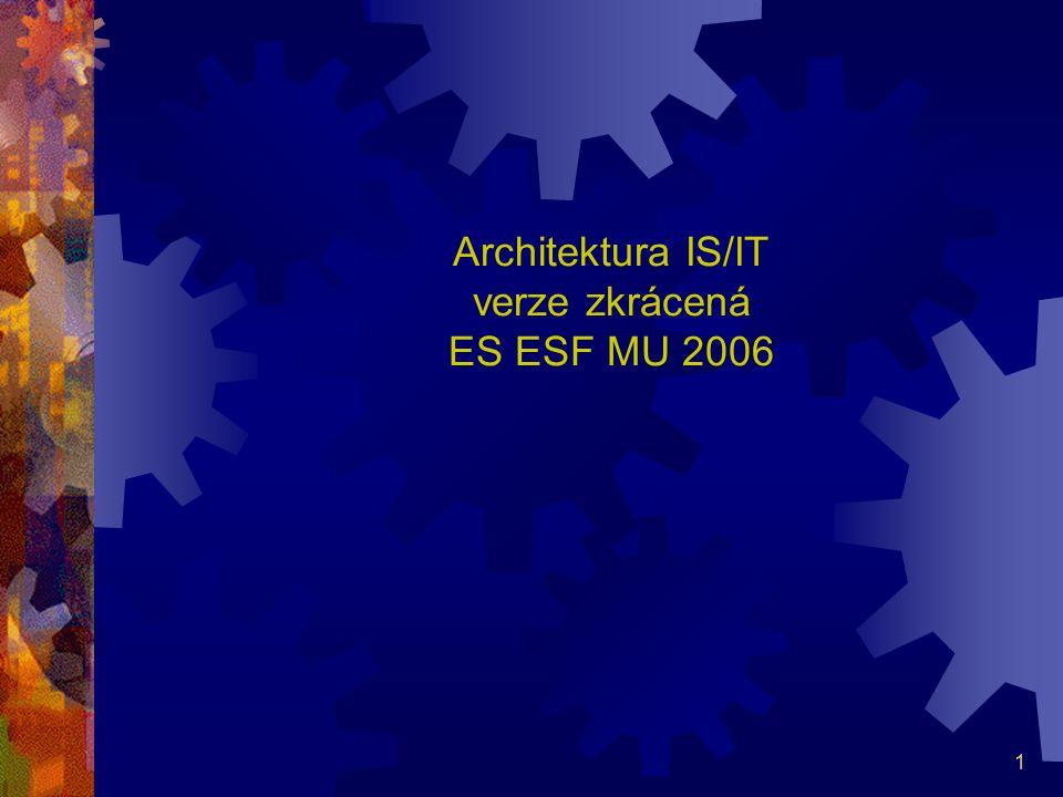 2 Možné problémy neexistuje-li architektura IS/IT Paralela se stavbou domu  nepoužitelný materiál  jiný materiál schází - nepokryté požadavky uživatelů na funkce IS,  schází potřebné stroje a řemeslníci - tvorba IS v málo výkonném vývojovém prostředí, bez CASE a bez specialistů na tvorbu informační strategie, na počítačové sítě, na databáze atd.,  často se musí bourat - opouštění nevhodně nakoupeného software nebo neustále se množící požadavky uživatelů, které jsou často v rozporu s logikou aplikace,  nepoužitelné prostředky - draze nakoupený, ale z důvodů nekompatibility nevyužívaný hardware a software,
