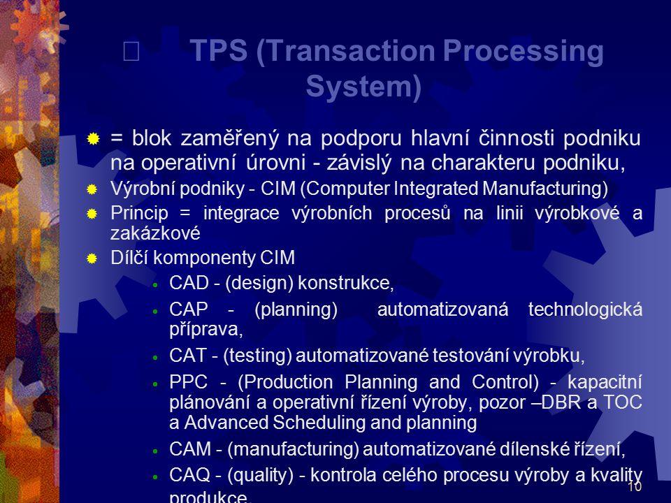 10  TPS (Transaction Processing System)  = blok zaměřený na podporu hlavní činnosti podniku na operativní úrovni - závislý na charakteru podniku, 