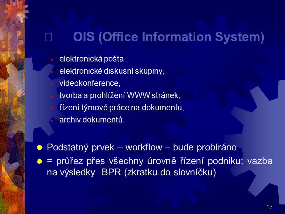 17  OIS (Office Information System)  elektronická pošta  elektronické diskusní skupiny,  videokonference,  tvorba a prohlížení WWW stránek,  říz