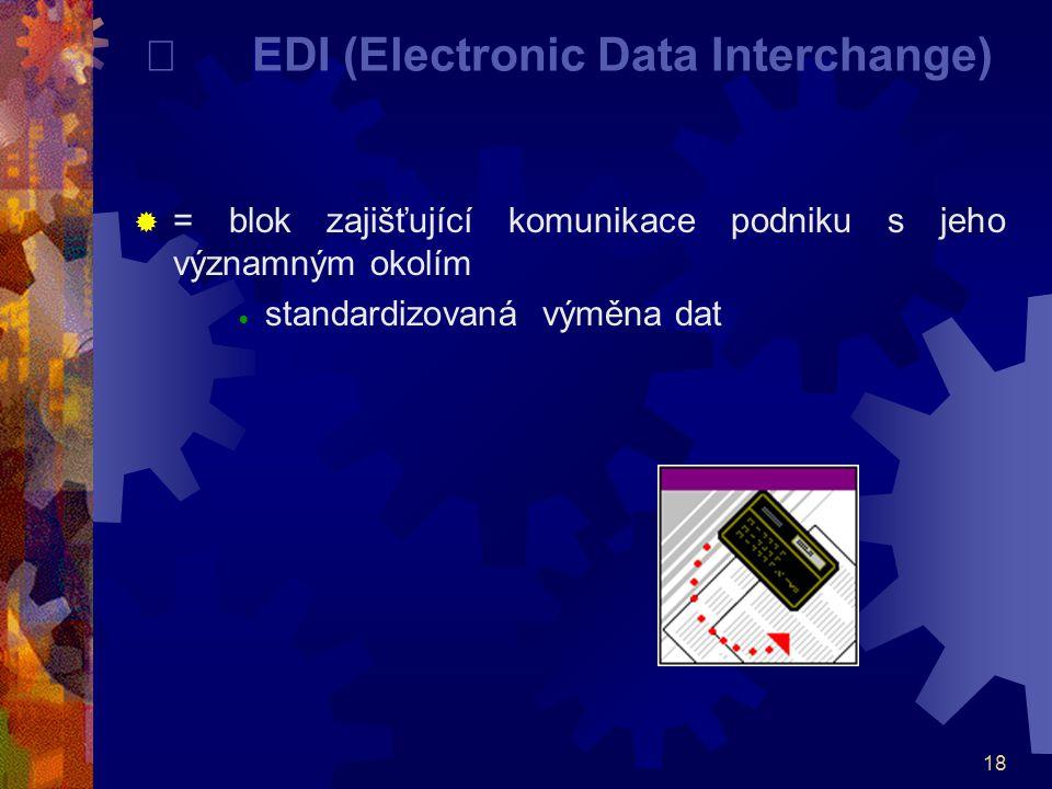 18   EDI (Electronic Data Interchange)  = blok zajišťující komunikace podniku s jeho významným okolím  standardizovaná výměna dat