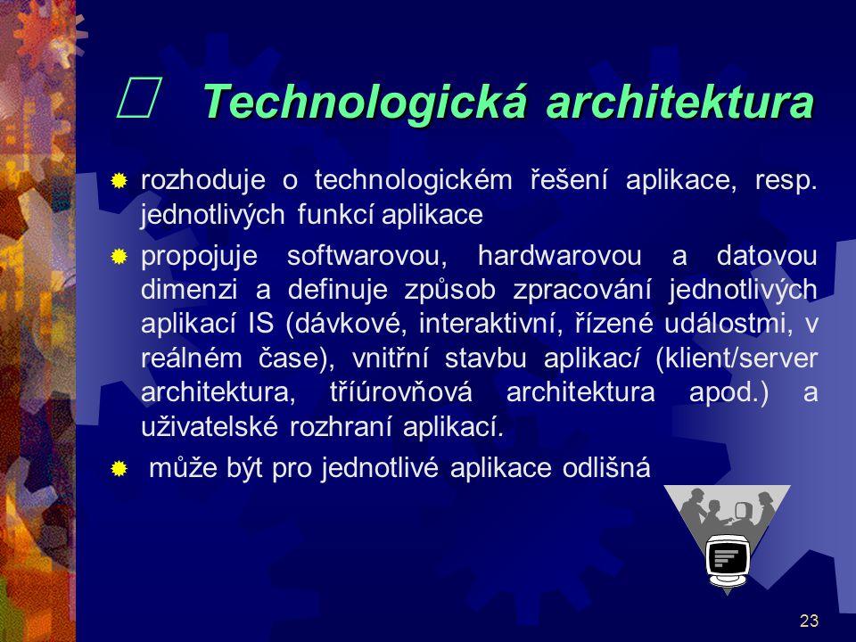 23 Technologická architektura   Technologická architektura  rozhoduje o technologickém řešení aplikace, resp. jednotlivých funkcí aplikace  propoj
