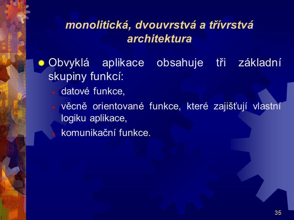 35 monolitická, dvouvrstvá a třívrstvá architektura  Obvyklá aplikace obsahuje tři základní skupiny funkcí:  datové funkce,  věcně orientované funk