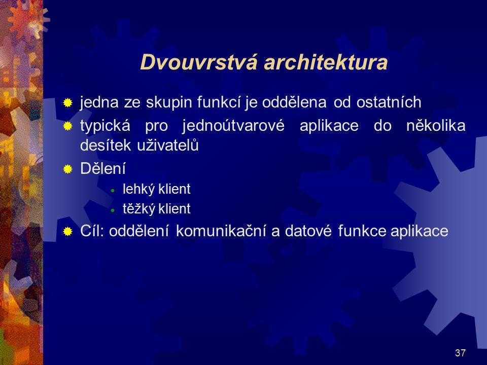 37 Dvouvrstvá architektura  jedna ze skupin funkcí je oddělena od ostatních  typická pro jednoútvarové aplikace do několika desítek uživatelů  Děle