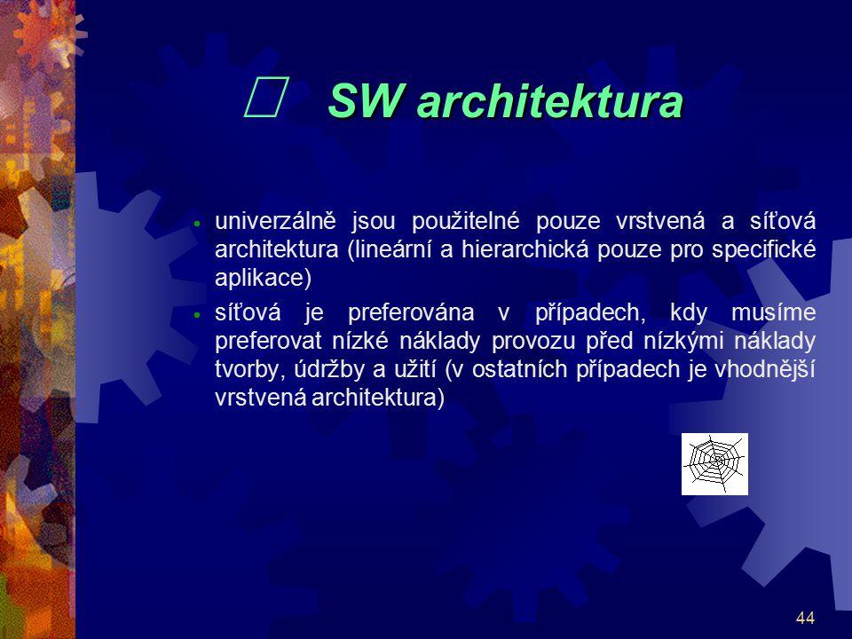 44 SW architektura  SW architektura  univerzálně jsou použitelné pouze vrstvená a síťová architektura (lineární a hierarchická pouze pro specifické