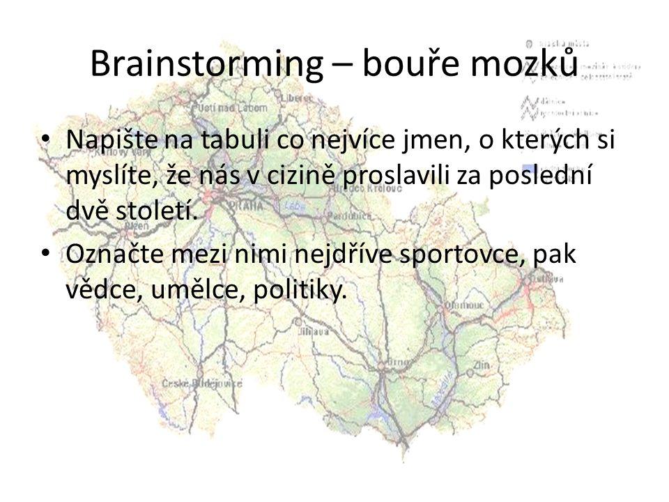 Brainstorming – bouře mozků Napište na tabuli co nejvíce jmen, o kterých si myslíte, že nás v cizině proslavili za poslední dvě století. Označte mezi