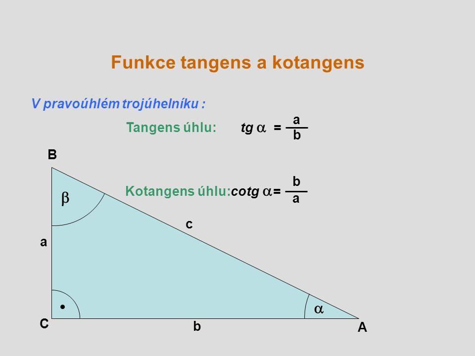 A B C a b c   Tangens úhlu: tg  = a b Kotangens úhlu: cotg  = b a Funkce tangens a kotangens V pravoúhlém trojúhelníku :