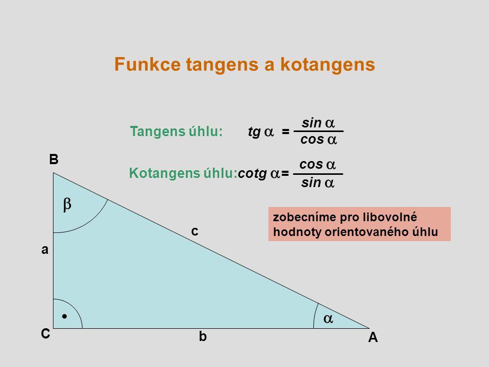 A B C a b c   Tangens úhlu: tg  = Kotangens úhlu: cotg  = sin  cos  sin  cos  zobecníme pro libovolné hodnoty orientovaného úhlu Funkce tangens a kotangens