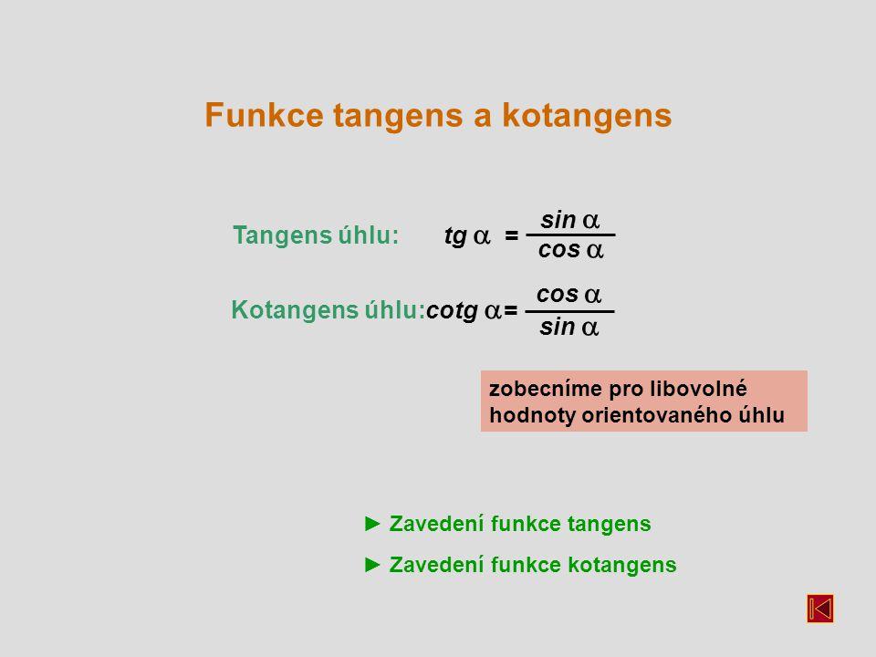 Tangens úhlu: tg  = Kotangens úhlu: cotg  = sin  cos  sin  cos  zobecníme pro libovolné hodnoty orientovaného úhlu Funkce tangens a kotangens ► Zavedení funkce tangens ► Zavedení funkce kotangens