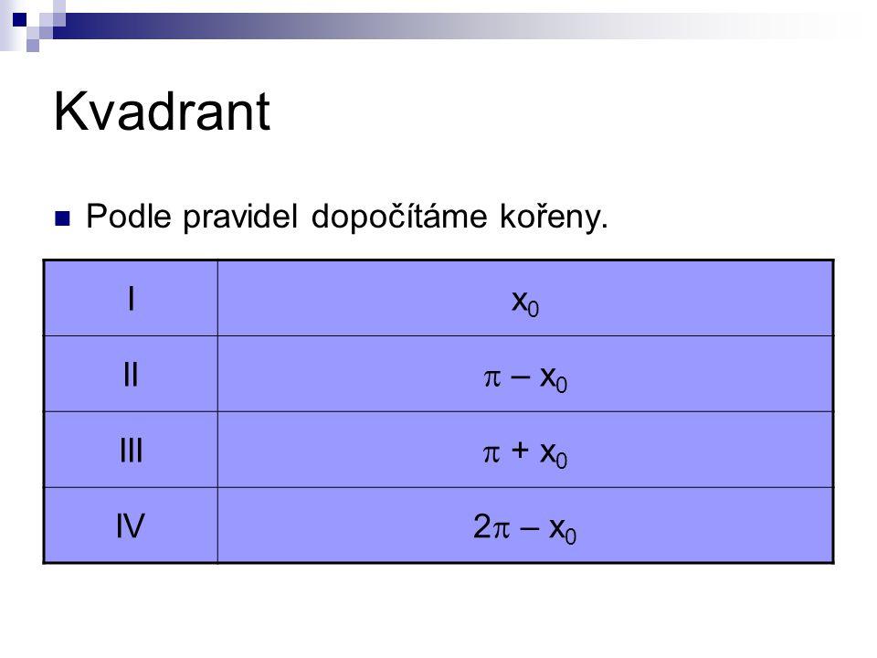 Kvadrant Podle pravidel dopočítáme kořeny. Ix0x0 II  – x 0 III  + x 0 IV 2  – x 0