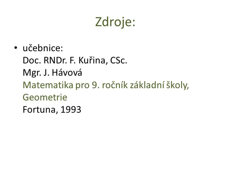 Zdroje: učebnice: Doc. RNDr. F. Kuřina, CSc. Mgr. J. Hávová Matematika pro 9. ročník základní školy, Geometrie Fortuna, 1993