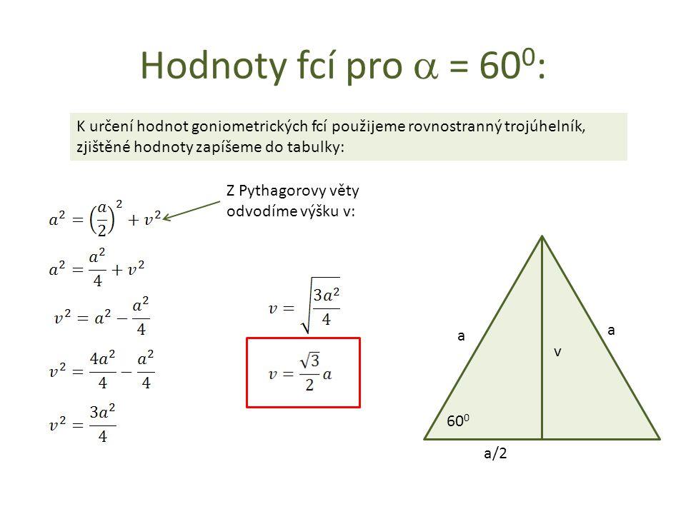 Hodnoty fcí pro  = 60 0 : K určení hodnot goniometrických fcí použijeme rovnostranný trojúhelník, zjištěné hodnoty zapíšeme do tabulky: a a v a/2 60